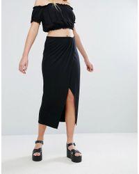 Bershka - Black Wrap Front Midi Skirt - Lyst