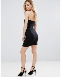 ASOS - Black Strapless Mini Bodycon Dress With Curved Splits - Lyst
