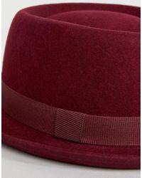 ASOS - Red Felt Pork Pie Hat With Size Adjuster - Lyst