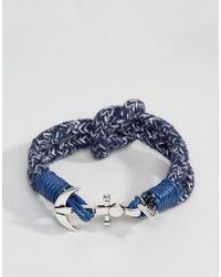 Icon Brand - Blue Anchor Stripe Woven Bracelet In Navy for Men - Lyst