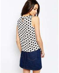 Sugarhill - Black Top In Monochrome Flower Print - Lyst
