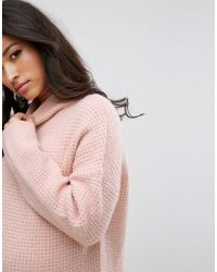 ASOS - Pink Knitted Jumper Dress In Texture Stitch - Lyst