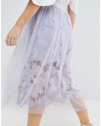 ASOS - Blue Lace Prom Skirt With Tulle Overlay - Lyst