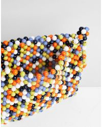 ASOS - Blue Design Multi Coloured Bead Cross Body Bag - Lyst
