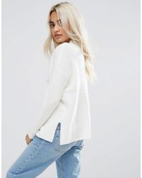 ASOS - White Chunky Sweater With Turtleneck In Fluffy Yarn - Lyst