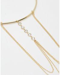 Orelia - Metallic Gold Plated Crystal Chain Drape Armcuff - Lyst