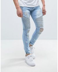 Liquor N Poker - Blue Skinny Jeans Heavily Distressed And Bleached Biker for Men - Lyst