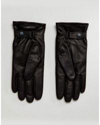 AllSaints - Yield Leather Gloves In Black for Men - Lyst
