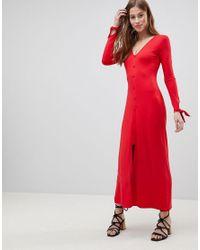 Asos Tarde Con De Vestido Largo Revestidos Botones Rojo Color lFK1cJ