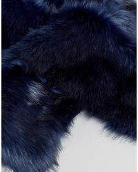 ASOS - Blue Faux Fur Scarf In Navy for Men - Lyst