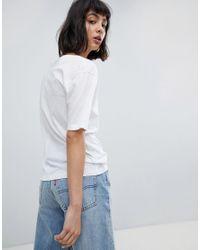 Weekday - White Last V-neck T-shirt - Lyst