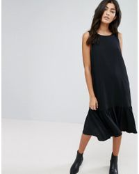 YMC - Black Drop Waist Ruffle Hem Dress - Lyst