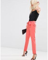 ASOS | Orange Cigarette Pants With Tie Waist | Lyst