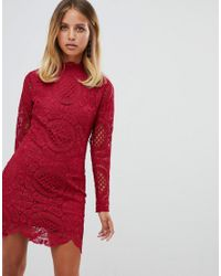 Girl In Mind - Red Long Sleeve Lace Mini Dress - Lyst