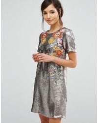 39af45e311 Lyst - Oasis Premium Sequin Floral Shift Dress
