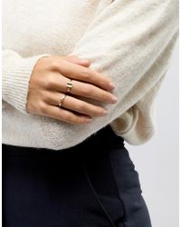 ASOS - Metallic Limited Edition Pack Of 2 Open Circle And Curved Square Rings - Lyst