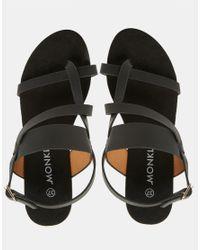 Monki - Black Flat Strap Holographic Sandal - Lyst