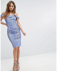 River Island - Blue Exposed Shoulder Bodycon Cami Dress - Lyst