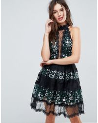 ASOS - Black Asos Embellished Mix Lace Panelled Tulle Mini Dress - Lyst