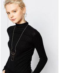 Monki - Metallic Abstract Hoop Earrings And Necklace Set - Lyst