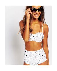 Monki | White Ruffle Motif Bikini Top | Lyst