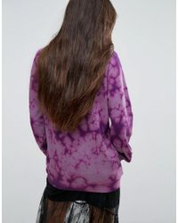 ASOS Purple Sweatshirt In Oversized Fit With Bleached Logo