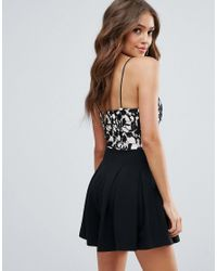 Girl In Mind - Black Crochet Lace Camisole Playsuit - Lyst