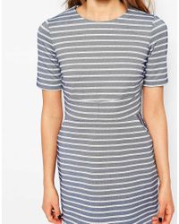 Warehouse - Stripe A Line Dress - Blue - Lyst