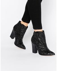 Little Mistress - Black Harlow Glitter Ankle Boots - Lyst