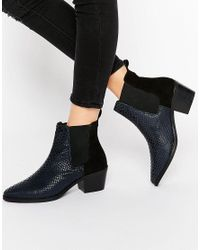 Park Lane | Blue Croc Print Leather Mid Heeled Chelsea Boots | Lyst