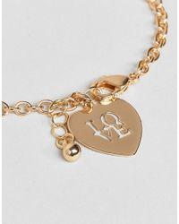 ASOS - Metallic Chain Link Love Bracelet - Lyst