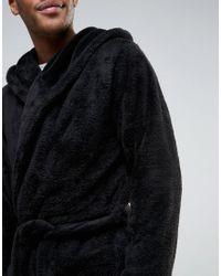 ASOS - Black Hooded Fleece Robe for Men - Lyst
