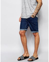 ASOS - Blue Denim Shorts In Skinny Fit Mid Wash for Men - Lyst