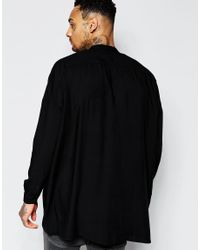 ASOS | Black Oversized Viscose Shirt With Drop Shoulder And Grandad Collar for Men | Lyst