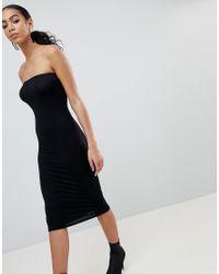 PRETTYLITTLETHING - Black Bandeau Midi Dress - Lyst