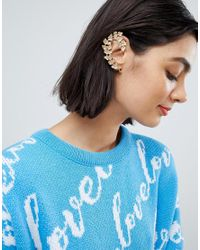 ASOS - Metallic Ear Cuff In Floral Design In Gold - Lyst