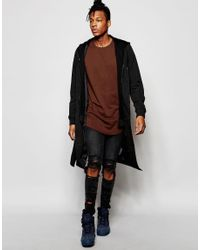 ASOS - Brown Longline Long Sleeve T-shirt With Curve Hem And Zip In Rust for Men - Lyst