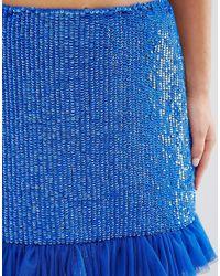 ASOS - Blue Embellished Mini Skirt - Lyst