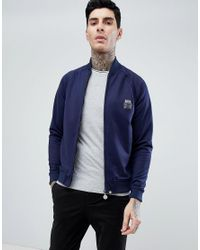 Pretty Green - Blue Zip Tricot Track Jacket In Navy for Men - Lyst