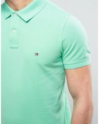 Tommy Hilfiger - Logo Pique Polo Slim Fit In Green for Men - Lyst