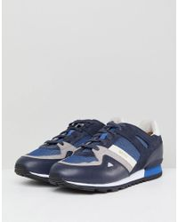 BOSS - Boss Suede Mesh Mix Trainers In Blue for Men - Lyst