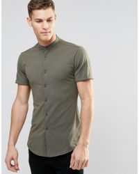 ASOS Green Skinny Shirt In Khaki Jersey With Grandad Collar And Short Sleeves for men