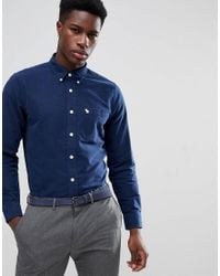 Abercrombie & Fitch - Blue Button Down Collar Slim Fit Oxford Shirt In Navy for Men - Lyst