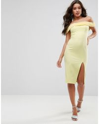 ASOS - Yellow Fluff Bardot Midi Dress - Lyst