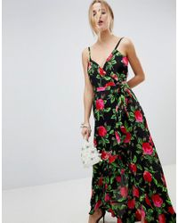 ASOS - Multicolor Ruffle Front Wrap Maxi Cami Dress In Bold Floral - Lyst