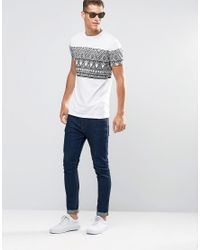 ASOS - Longline T-shirt With Sketchy Aztec Print In White for Men - Lyst
