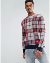 Tommy Hilfiger - Gray Penley Crew Neck Jumper In Large Check Print for Men - Lyst