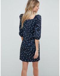 ASOS - Blue Square Neck Polka Dot Mini Dress - Lyst