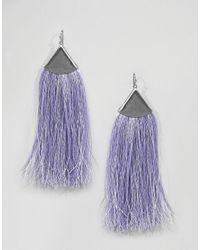 ASOS - Metallic Folded Metal Colour Pop Tassel Earrings - Lyst