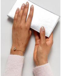 ASOS | Metallic Fine Filigree Stone Bracelet | Lyst